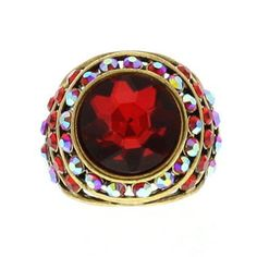 Gold Dome Ring With Crystals & Big Red Gemstone available at http://www.divabelle.com $10.00