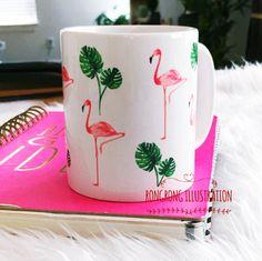 Flamingo Coffee Mug by RongrongIllustration, more chic mug at www.rongrongillustration.etsy.com