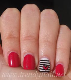 Trendy Nail: Nail stamping tutorial: Striped accent