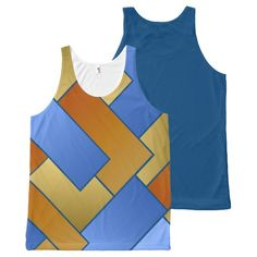 Geometric Tiled Shapes Brown Blue Burnt Orange All-Over Print Tank Top Tank Tops