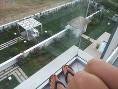 q-spa-resort; Uitzicht vanaf het balkon aangrenzend aan de keuken.