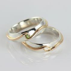 Galleri Castens - Vielses ring i sølv med olivenfarvet diamant