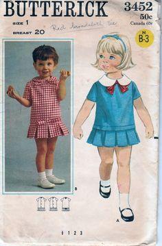 butterick 3452 vintage 1960's pattern toddler dress