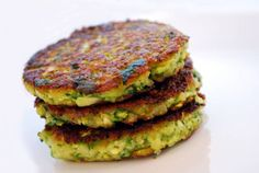 "Zucchini Cakes: 84 cal each and can be ""healthied"" up by using egg whites and whole wheat bread crumbs."
