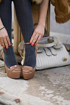 from Karla's closet grey tights and nude pumps {and i love the bag} #karla's_closet