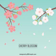 desenhadas mão flores de cerejeira em duas cores Vetor grátis