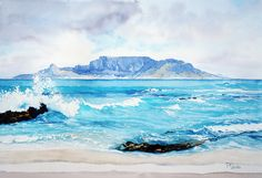 Wasserfarben (Tafelberg) 570 x 400 - Pamela Quinlan - Mountain Watercolor Art Lessons, Watercolor Ocean, Watercolor Art Diy, Watercolor Landscape, Watercolor Paintings, Watercolours, Pamela, Table Mountain, Mountain Tattoo