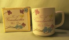 """Enesco coffee/tea cup """"For A Grandmother Who's Dear"""". still new in the box '84"""