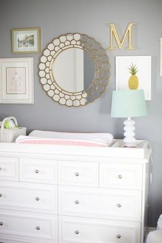 @ktdespain131 This gray, gold, and white nursery is SO beautiful! We could add it lavender accents too.