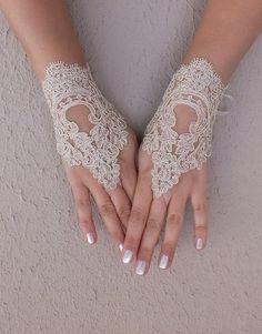 champagne wedding glove wedding gloves gold lace by Worldofgloves, $25.00