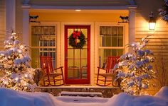 cozy cottage porch at Christmas