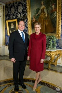 Prince Albert and Princess Charlene at the Princely Palace Monaco-the Prince gave a message to the principality with the Princess also speaking at the end of his speech.