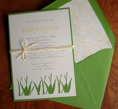 Spring inspired grass cut out invites