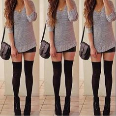 Knitted sweater, black bodycon skirt & knee high socks. OMG so adorable!