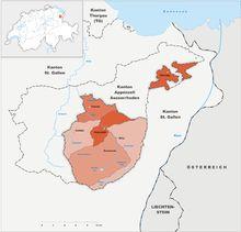 Canton of Appenzell Innerrhoden district map Switzerland, Diagram