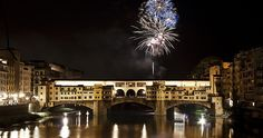 Fireworks on Ponte Vecchio, 24 June for Saint John's Day, Patron Saint of Florence