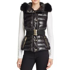 Burberry Willowbank Fur Trim Down Puffer Vest ($995) ❤ liked on Polyvore featuring outerwear, vests, black, fox fur vest, puffer vest, puffy vests, burberry and burberry vest