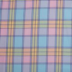 Multi-Pastel Plaid Yarn-Dyed Cotton Twill