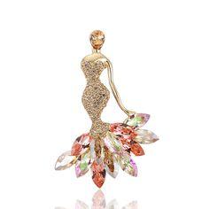 2017 New Fairy Mermaid Brooch Vintage Rhinestone Crystal Lapel Pin Broches Daul-use Broch Wedding For Woman b039