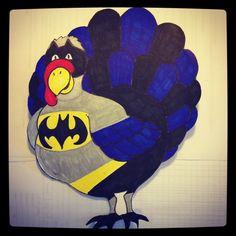 Turkey disguised as batman for kindergarten thanksgiving project