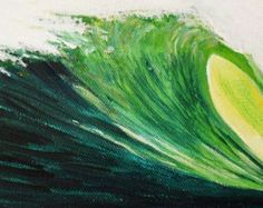 Original Painting On canvas- Tropical Wave- Wall  Decor- Coastal Decor  FREE SHIPPING in the U.S.