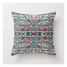 Society6 Pink Turquoise Girly Aztec Andes Tribal Pattern Throw Pillow ($20) ❤ liked on Polyvore featuring home, home decor, throw pillows, abstract throw pillows, turquoise throw pillows, pink home decor, turquoise home decor and pink throw pillows
