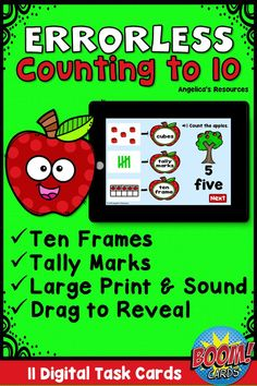 Are you looking for a fun and engaging way to help your students master numbers to 10? This unique errorless counting to ten deck provides your students with a positive learning experience. #boomcards #boomlearning #angelicasresources #kindergarten #firstgrade #kinder #pre-k #preschool #1stgrade #digital #taskcards #distancelearning #errorlesslearning #apples #appletheme #errorless #johnnyappleseed #countingto10 #tenframes #specialeducation #sped #aba #errorless #autism