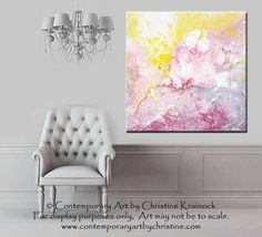 "ORIGINAL Art Abstract Painting Pink White Modern Textured Urban Contemporary Grey Yellow Spring Home Wall Decor 24x24"" -Christine"