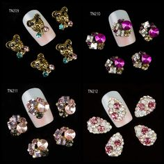 Nail Art 10pcs 3D Panda flower drop Red Pink Rhinestone Alloy Nail Art Decorations DIY Nail Glitter Tools TN209-TN212 #Affiliate