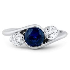 Three Gem Cascade Engagement Ring, <3