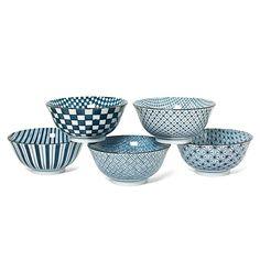 bols japonais  motifs géométriques bleu et blanc chez Ellen Desforges à Lille