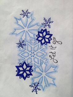 color, design and arrangement (like the overlapping) inspiration for snowflake tattoo