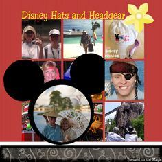 Wordless Wednesday ~ Disney Hats Oh My! Scrapbook Page Layout by Deb of Focused on the Magic