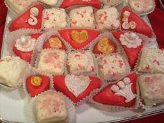 Valentines Sweets Coconut Petit Fours with buttercream filling.