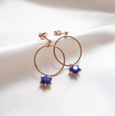 Front Facing Hoop Lapis Lazuli Gemstone Earrings a perfect gift for a friend or yourself. Visit Oneiro Jewelry and shop today!