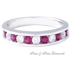 There are 6 = round cut rubies and 5 = GH/VS – SI round brilliant cut diamonds channel set in an white gold half eternity ring Half Eternity Ring, Bangles, Bracelets, White Gold Rings, Gemstone Rings, Channel, Diamonds, Jewelry, White Gold Wedding Rings