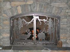 custom made fireplace screen Fireplace Screens With Doors, Decorative Fireplace Screens, Metal Fireplace, Simple Fireplace, Fireplace Cover, Rustic Fireplaces, Decorative Panels, Fireplace Surrounds, Fireplace Design