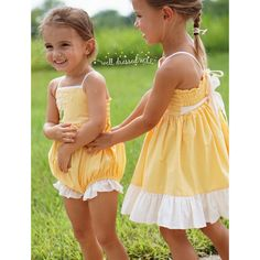 Well Dressed Wolf Yellow Dandy Bubble, sister set in 6m & 3T