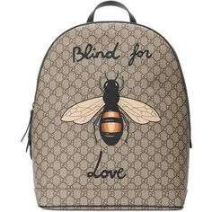 Gucci Bee Print Gg Supreme Backpack ($1,490) ❤ liked on Polyvore featuring men's fashion, men's bags, men's backpacks, accessories, luggage & lifestyle bags, women, gucci mens backpack and mens laptop backpack