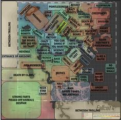 Accurate map of Fallout 4 Fallout 4 Map, Fallout 4 Funny, Fallout Facts, Fallout Four, Fallout 4 Secrets, Fallout Tips, Video Game Memes, Video Games, Area Map
