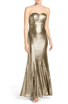 Main Image - Lulus Strapless Sequin Mermaid Gown Neon Prom Dresses, Strapless Dress Formal, Fitted Dresses, Silver Dress, Gold Dress, Formal Dresses For Women, Mermaid Gown, Natalie Portman, Emma Stone