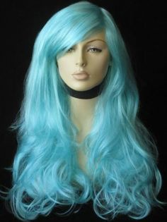 An extra long, blue-green wig: Morgan [WIG FW 237 BLUE-GREEN KAF3] - £26.99 : wigs, half hairpieces extensions, ponytail fringe & bun hair pieces : Annabelles Wigs