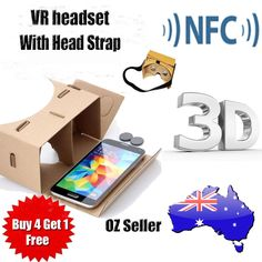 ad548ddcdf5  5.45 AUD - Google Cardboard Vr Headset Kit 3D With Nfc Tag Lens Head Strap  Sale