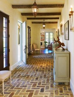 brick flooring The architect describes it as a new country French cottage: The clipped gables, engaged dormer and belvedere tower connect with their inspirational rural examples in France from Normandy to the Dordogne. Living Room Decor Country, French Country Living Room, French Country Cottage, French Country Decorating, Country Cottages, Country Style, Rustic Style, Country Entryway, Style At Home
