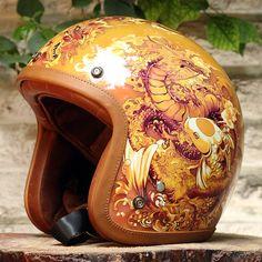 TM Airbrush 3/4 Open Face Motorcycle Helmet DOT Dragon Carpio G