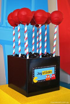 Joystick cake pops at a Arcade Party #arcade #cakepops