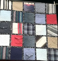 Memory Quilt from Western shirts with free-motion quilting Amy Cavaness Designs