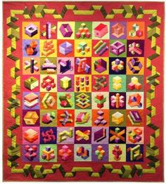Second, wall quilt, stationary quilted.  AQS Daytona FL 2017. So many variations of the same block in this quilt. Wow.