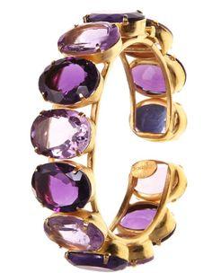 Charm & Chain | Light and Dark Amethyst Hinged Bangle Bracelet