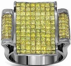 #Jewelry #MensRings 14K Gold Black Rhodium Plated Mens Diamond Ring with Yellow Diamonds 2.73 Ctw